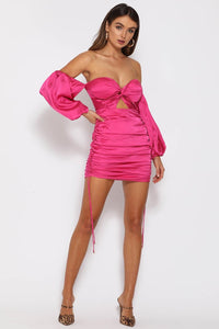 POUFFE SLEEVE MINI DRESS - MAGENTA