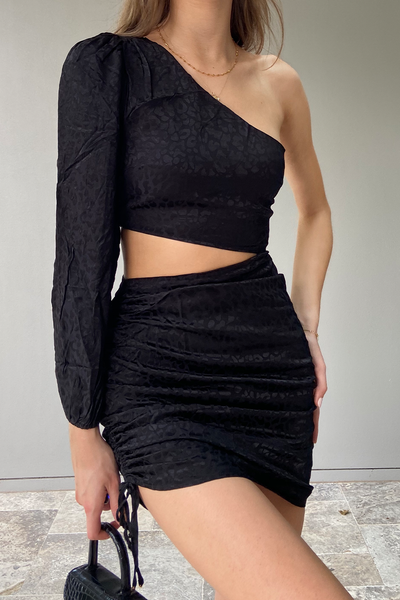 ALISA DRAPED DRESS - BLACK