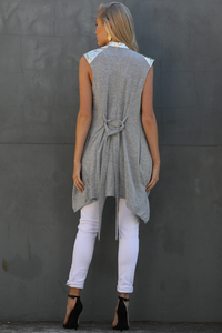 Platinum Sleeveless Waterfall - Grey/Gold