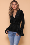 VELVET REVOLVER WRAP TOP - BLACK