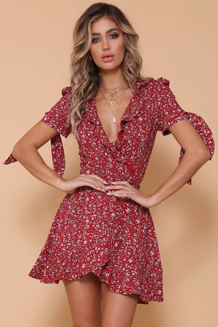 Amber Mini Wrap Dress-Red Print