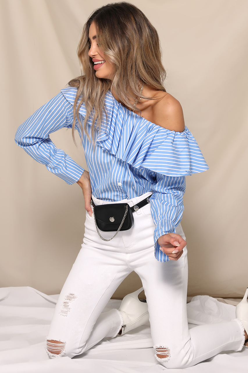 C.E.O BLOUSE - BLUE STRIPE