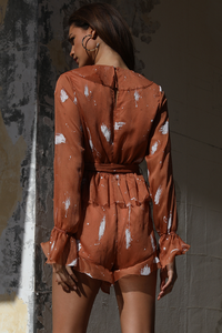 PEACE PAINT PLAYSUIT - RUST/WHITE