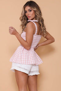 Skylar Top - Pink Gingham