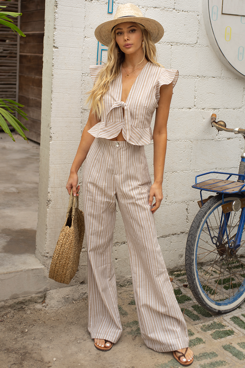 ANNA PANTS - TAN STRIPE