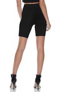 RIB CYCLE SHORTS - BLACK