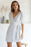 Katy Wrap Dress - White Spot