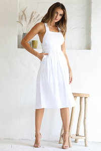 FIORELLA CROSSBACK DRESS - WHITE