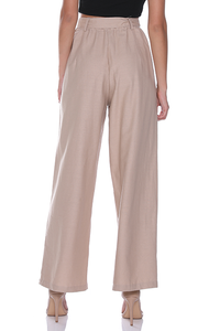 SAVANNA WIDE LEG TROUSERS - BEIGE