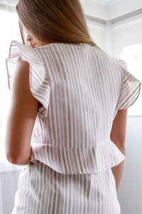 ANNA TOP - TAN STRIPE