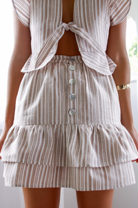 Anna Skirt - Tan Stripe