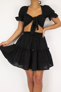 Heaven Sent Mini Skirt - Black