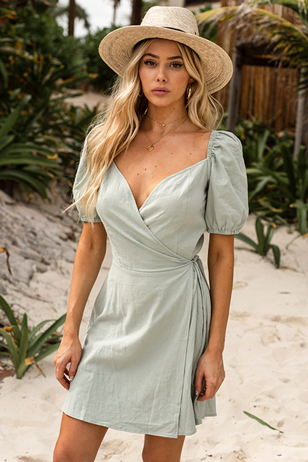 MEGAN WRAP DRESS - PISTACHIO