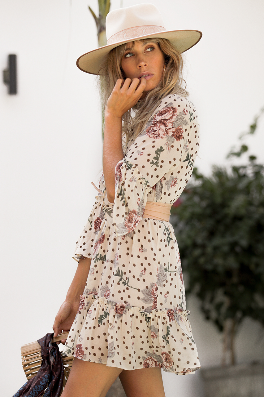 DANI SWING DRESS - NUDE FLORAL