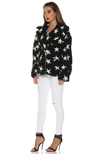 Star Fur Jacket - Black Star