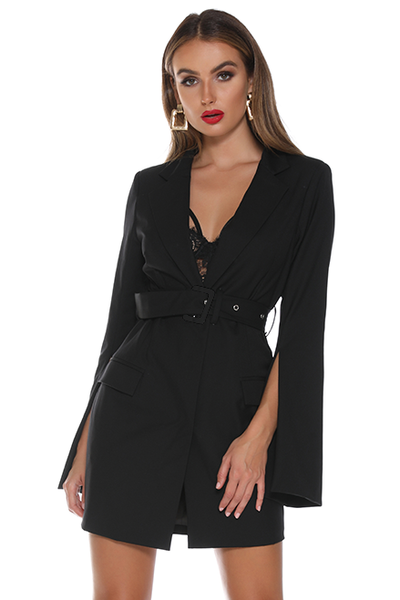 Ava Blazer Dress - Black