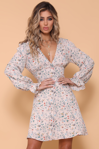 ADELINE LONG SLEEVE DRESS - BLUSH FLORAL