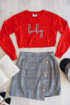 BABY SLOGAN SWEATER - RED