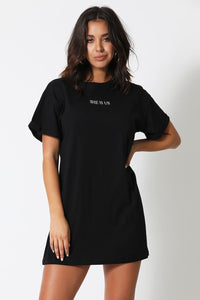 She T-Shirt Dress-Black