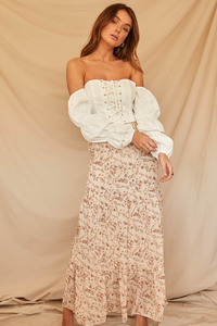 Fiona Maxi Skirt-Cream Floral