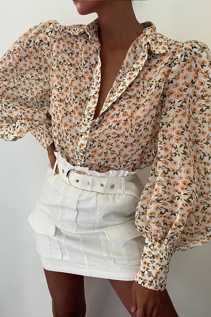 Yasmine Shirt - Yellow Floral