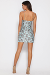 ELODIE MINI DRESS - BLUE JACQUARD