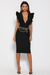 Frill plunge midi dress-black