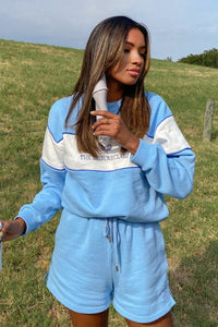 Zehra Spliced Jumper - Sky Blue