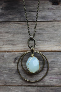 "30"" Faceted Wire Wrapped Aqua Chalcedony Necklace"