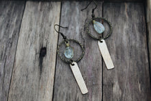 Load image into Gallery viewer, Distressed Brass & Wire Wrapped Faceted Aquamarine Earrings