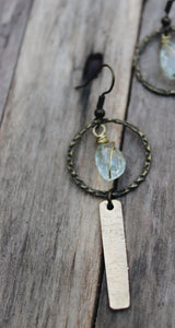 Distressed Brass & Wire Wrapped Faceted Aquamarine Earrings