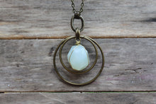 "Load image into Gallery viewer, 30"" Faceted Wire Wrapped Aqua Chalcedony Necklace"