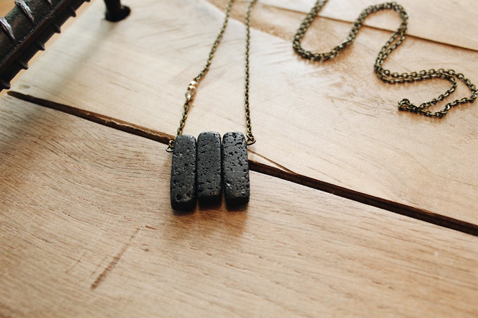 Lava Rock Bar Necklace