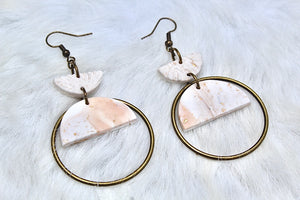 White, Blush + Gold Fleck Polymer Clay Earrings
