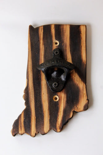 Indiana Shaped Wooden Bottle Opener