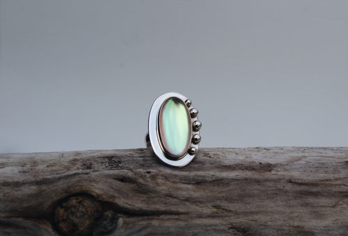 Sterling Silver Adjustable Oval Opalite Ring