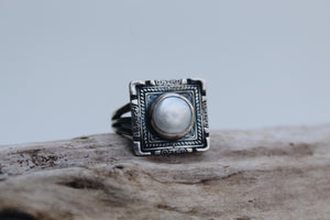 Sterling Silver Size 8.5 Pearl Square Dynasty Ring
