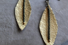 Load image into Gallery viewer, Hammered Brass Leaf With Olive Green Seed Beads