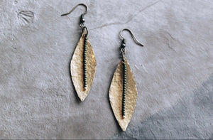 Hammered Brass Leaf With Olive Green Seed Beads