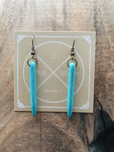 Turquoise Dyed Howlite Spike Earrings