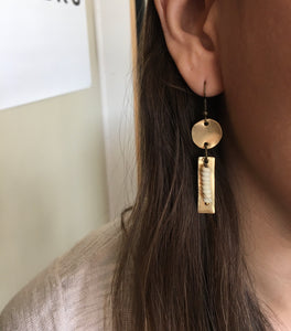 Hand-cut Brass + Dainty Howlite Earrings