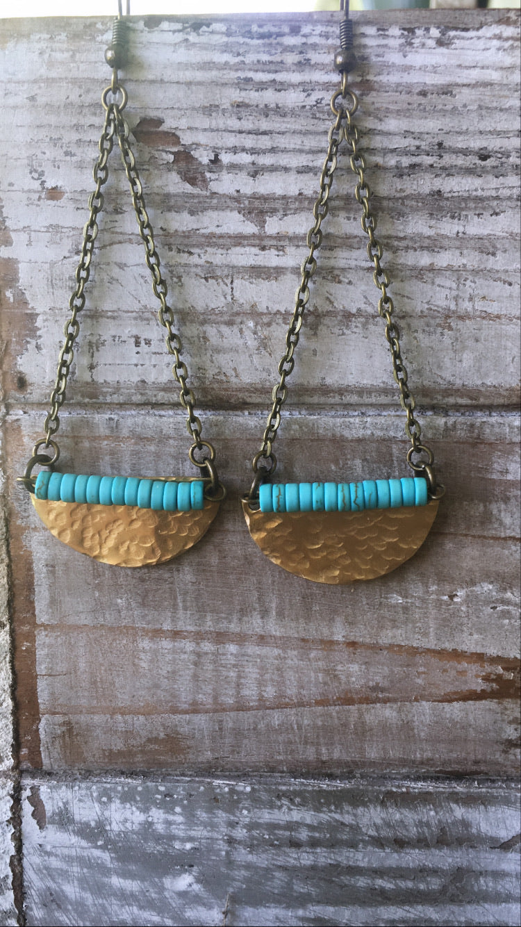 Hand-Cut & Hammered Brass Half Circle with Mini Turquoise dyed beads Earrings