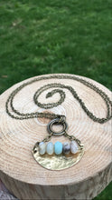 "Load image into Gallery viewer, 30"" Hand-Cut + Hammered Brass Half Moon Plate with Faceted Amazonite Bar Necklace"