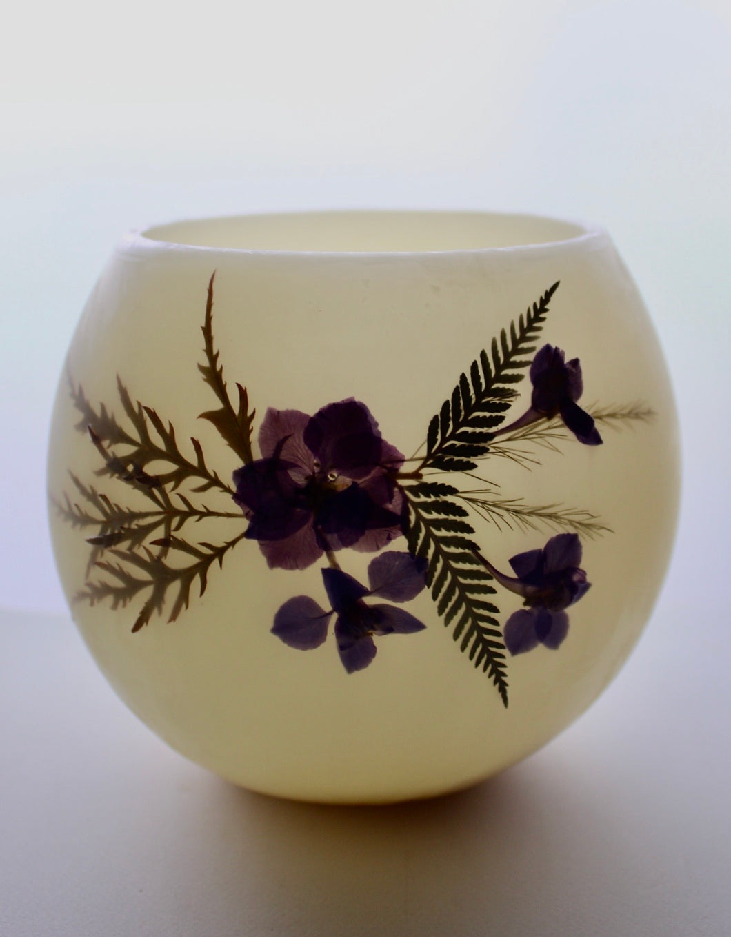 Larkspur, Fern & Japanese Maple Beeswax Luminary