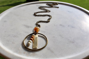 "33"" Faceted Fire Agate/Amazonite Stack/Brass Necklace"