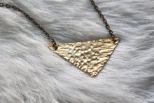 "Load image into Gallery viewer, 14"" Hand-Cut + Hammered Brass Necklace"
