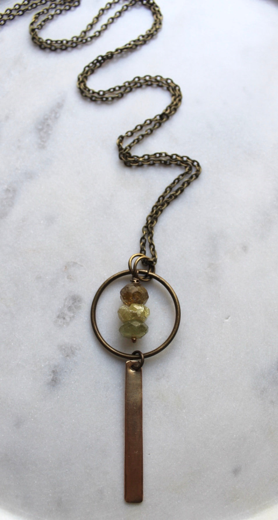 "33"" Faceted Stacked Grossular Granite + Brass Necklace"