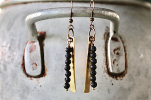 Hand-Cut Smooth Brass Rectangle with Mini Lava Rock Stack Earrings