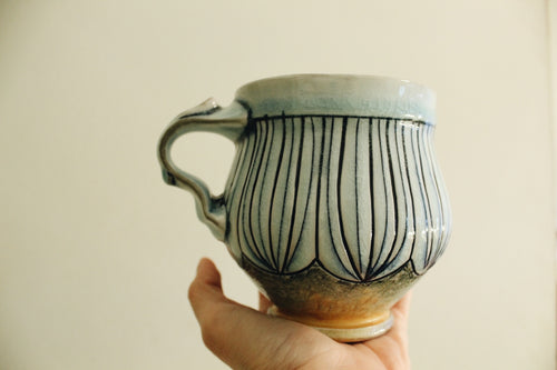 Blue Inlaid Soda Fired Mug