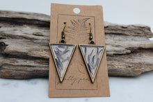 Load image into Gallery viewer, Pressed Floral Triangle Earrings